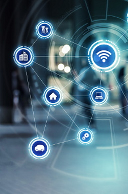 Wireless communication network concept. Internet of Things. Information Communication Technology.